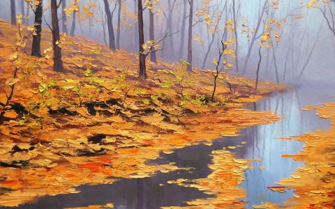 黄色叶子在一条小溪,一张图片