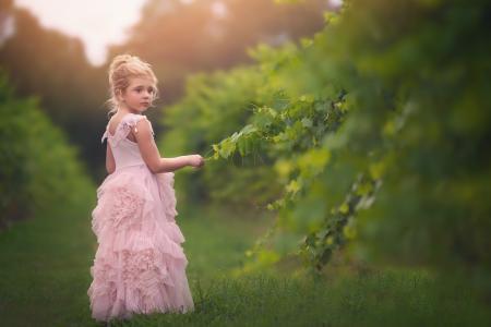一条美丽的粉红色裙子的小女孩站在绿色的草地上