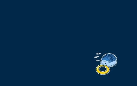 刺猬吃百吉饼,蓝色背景