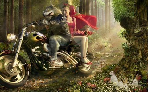 在摩托车上的小红帽的狼