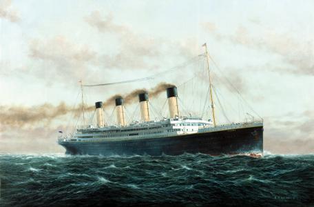 泰坦尼克号在风雨如磐的海中