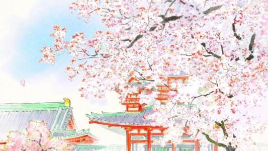 在樱花,动漫的颜色的房子