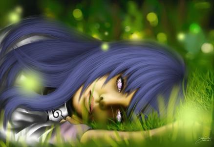 Hinata躺在草地上