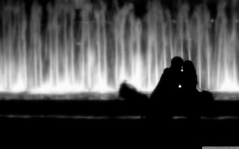剪影,喷泉