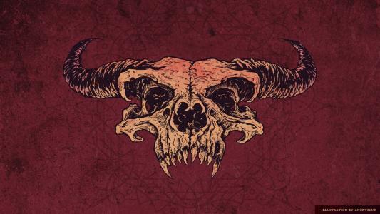 骨架,红色背景,头骨,角,牙齿,无政府状态