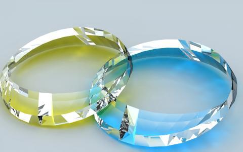 两个透明的宝石3D图形
