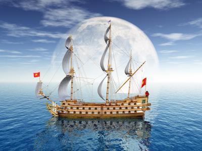 伟大的帆船在月亮的背景中海3D图形