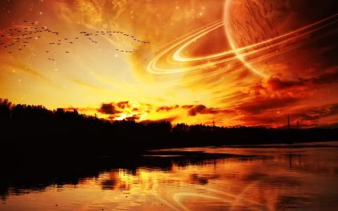 令人难以置信的天空在河面上