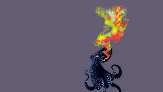 消火章鱼,灰色的背景