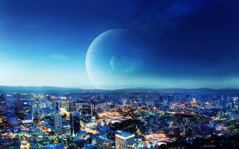梦幻般的夜晚城市