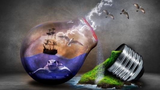 灯泡创意世界生命的力量