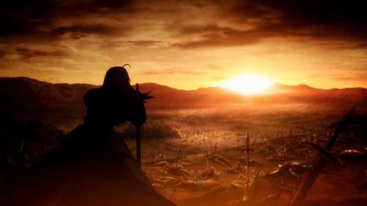在动漫Fate-Zero的战斗中的日落