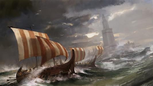 船附近的亚历山大灯塔,图片