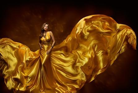棕色的头发,穿着美丽的金色连衣裙的漂亮女孩