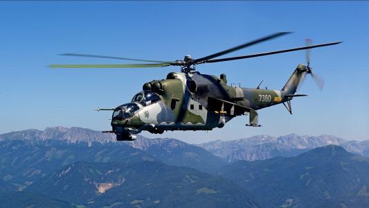 直升机在山上