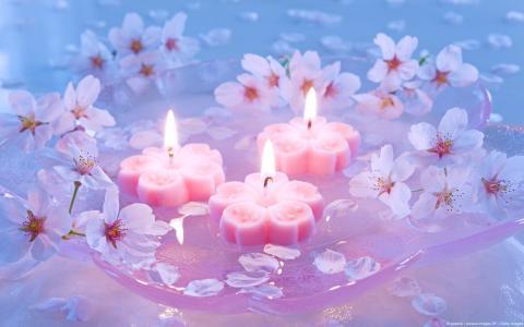 在鲜花间燃烧蜡烛