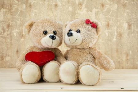两个可爱的泰迪熊与红色的心