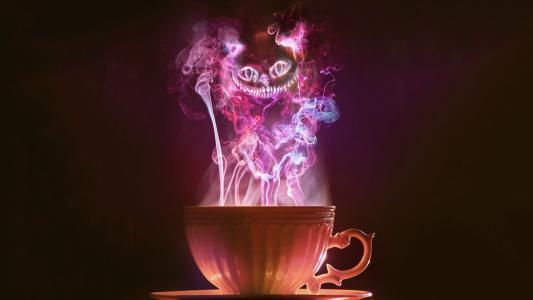 烟,紫,茶,爱丽丝,猫,柴郡猫