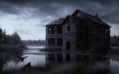 万圣节的房子充满了鬼怪和恶魔