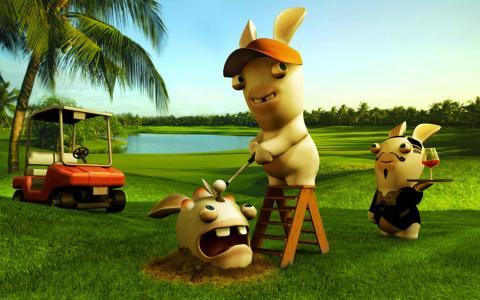 打高尔夫球的兔子,游戏Rayman Raving Rabbids