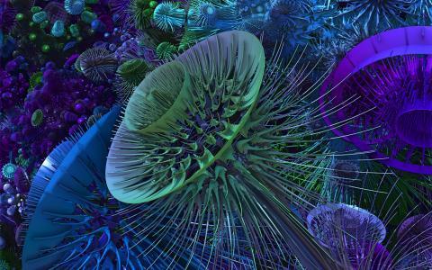 梦幻般的颜色3d图形镂空体积数字