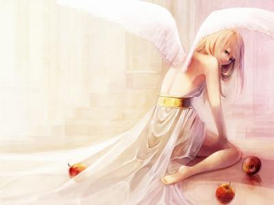 翅膀,天使,苹果