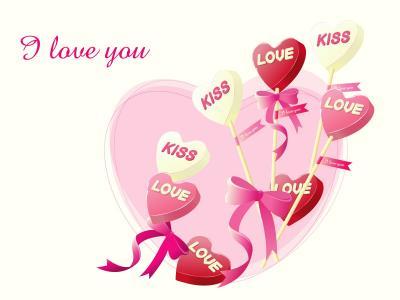 粉红色的心棒棒糖情人节2月14日