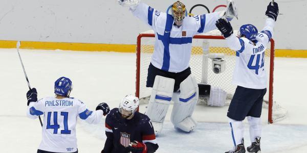 芬兰国家曲棍球队在索契奥运会上获得铜牌