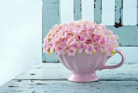 在一个白色的花瓶精致的粉红色花朵
