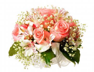 桃红色玫瑰花束与alstromeria在白色背景开花