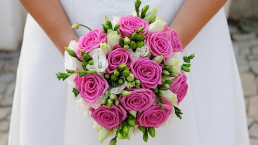 玫瑰,婚礼花束,礼服