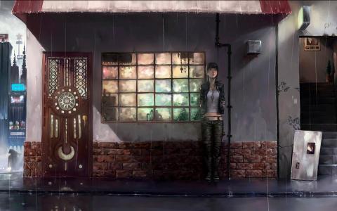 女孩从雨中隐藏