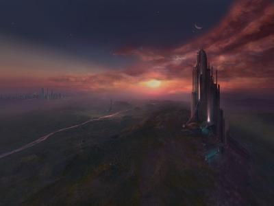 一个梦幻般的星球的景观
