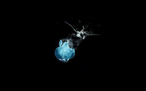 黑色背景,水,品牌,苹果
