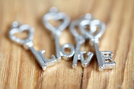 与题字的银色钥匙爱