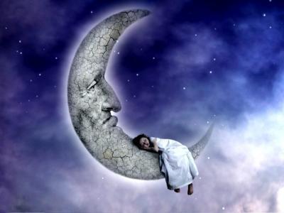 那女孩正在月亮上睡觉