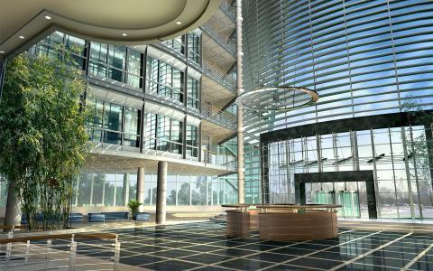 一个玻璃大厦的大厅的内部