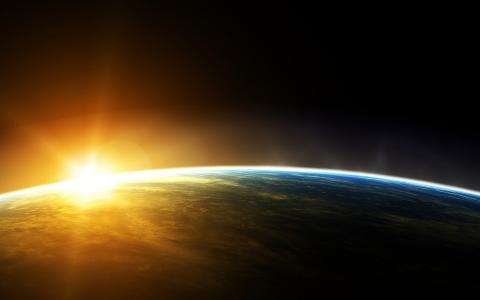 日落的看法从空间的