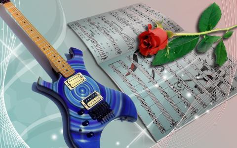 叶子,吉他,红玫瑰,乐谱