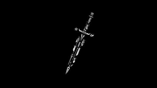 从不同的游戏,黑色背景元素的剑