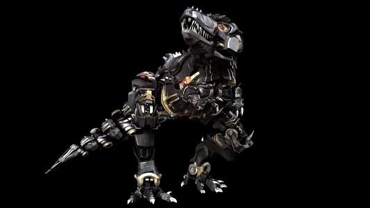 3d精美的人工智能机器恐龙