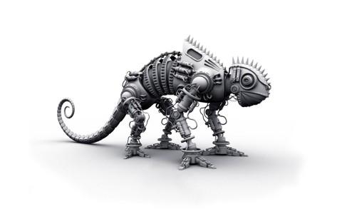 3d创意人工智能机器恐龙
