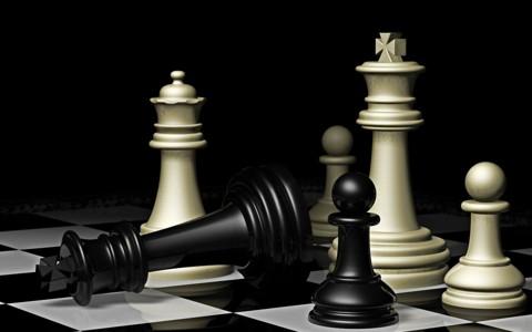 3D黑白色国际象棋