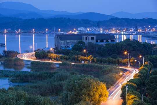 江苏太湖夜幕景色